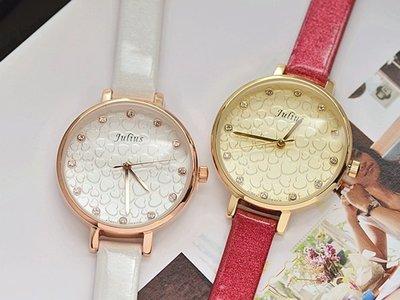 ☆貝露卡☆ 正韓國品牌 JULIUS 愛的告白 愛心印花圓框水鑽皮帶手錶 預購