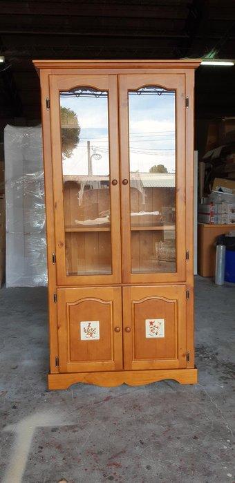 美生活館 -- 實木西班牙磁磚  三尺 四門書櫃 /收納櫃/置物櫃可訂白色或雙色--店面 民宿 餐廳 自宅