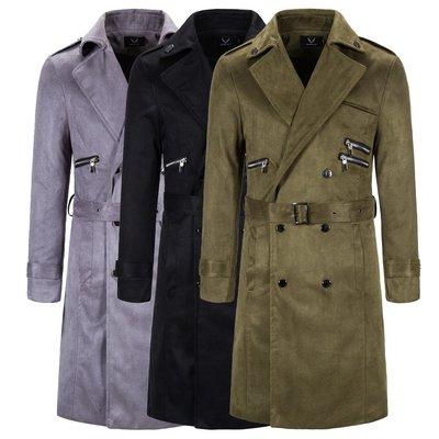 男雙排釦風衣西裝外套外貿新款男裝休閑長款翻領風衣外套大碼呢料純色大衣FY1895