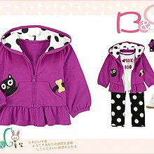 【B& G童裝】正品美國進口GYMBOREE口袋貓咪紫色長袖連帽外套12-24mos