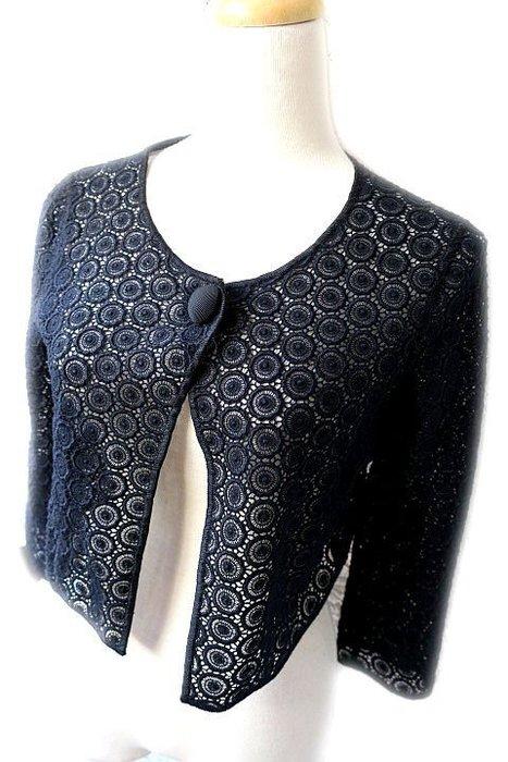 *Beauty*MOSCHINO黑色針織衫罩蕾絲外套I38號8500元WE12