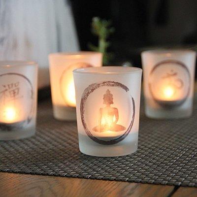 熱銷#中式圖案玻璃燭臺現代家居裝飾擺設DIY香薫蠟燭杯送電子蠟#燭臺#裝飾