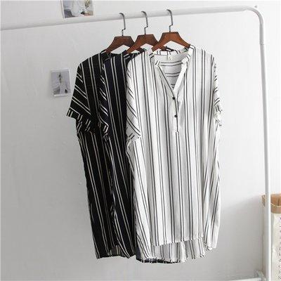 Jomi日韓 愜意時尚 經典顯瘦V領豎條紋寬鬆中長款短袖襯衫裙* 【JU14-SH8296】
