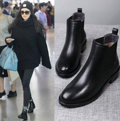 楊冪明星同款  2018新款短靴馬丁靴秋冬季平底切爾西女靴單靴英倫風真皮粗跟女鞋 防水防滑短靴 雨靴