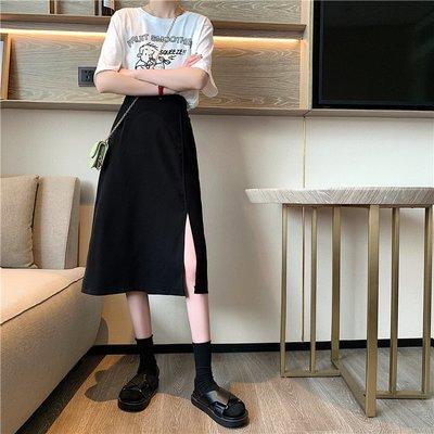 百搭質感半身開岔A字長裙子 素面顯瘦側開叉過膝裙 艾爾莎【TAE8532】