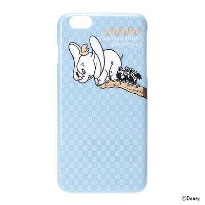 尼德斯Nydus~* 日本迪士尼 小飛象 Dumbo 硬殼 手機殼 5.5吋 iPhone6+ 淺藍格子 素面燙金款
