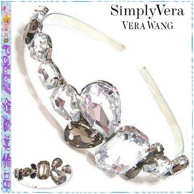 ☆POLLY媽☆美國Simply Vera Vera Wang方形橢圓水滴形水鑽寶石造型金屬髮箍USA$12.00