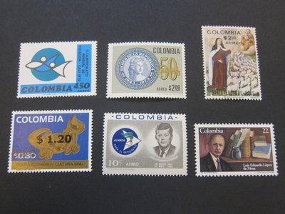 【雲品】哥倫比亞Colombia 1963 Sc C455,C568,C588,C596,840,939 sets(6) MNH 庫號#76927