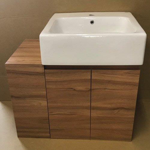 70CM 木紋系列V6658R柚木色系 台中工廠 白色toto640瓷盆 浴櫃 開放空間 實用又獨特的造型