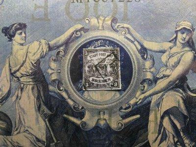 (極品珍藏!)德國聯邦 不來梅(Bremen) 1855年(首套郵票第一枚) coat of arms. 3gr