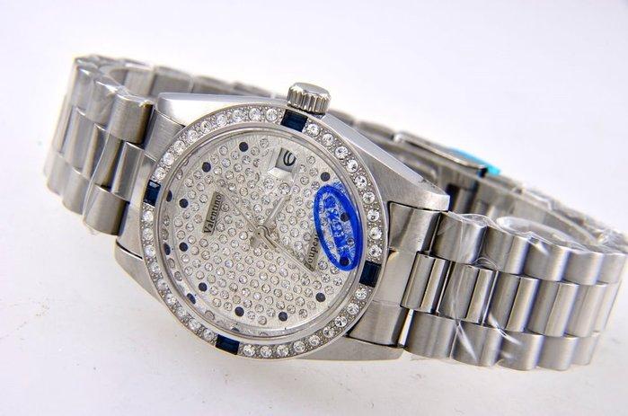 (六四三精品)Valentino coupeau全不銹鋼貝面盤.藍寶石水晶鏡面,自動上鍊機械錶!3.6.9.12藍晶鑽.