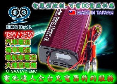 ☆電池達人☆變電家台製 免拆電池/充電機 電池充電器 12V10A 液晶 另售 55B24RS 55B24L 55457