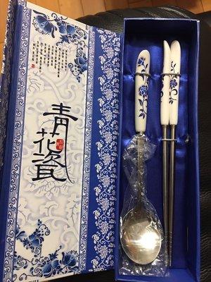 全新//現貨~ 青花瓷餐具 筷子 湯匙 兩件套~