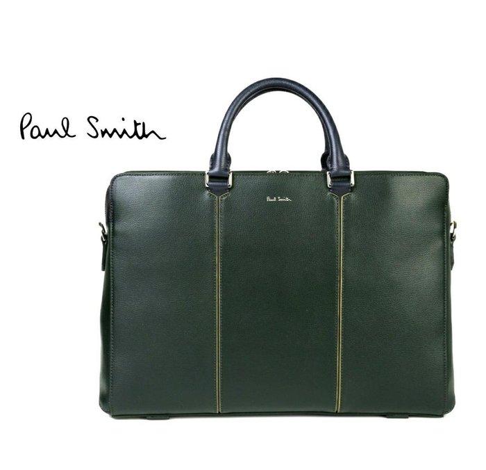 Paul Smith  ( 深墨綠色 )  真皮 手提包 肩背包 公事包 紳士包 中性款|100%全新正品|特價!