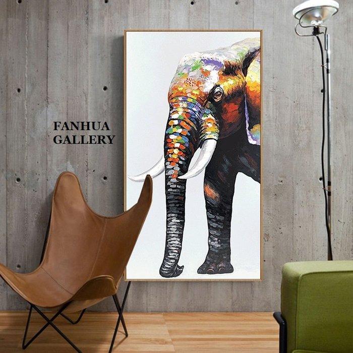 C - R - A - Z - Y - T - O - W - N 純手繪立體筆觸油畫美式彩色大象吉祥如意招財油畫設計師款高檔動物藝術手繪掛畫立體裝飾畫