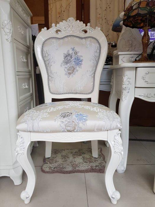 古典布面無扶手椅 餐椅 書桌椅
