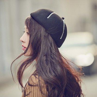 貝雷帽畫家帽-黑色珍珠毛呢圓頂女帽子73vt26[獨家進口][米蘭精品]
