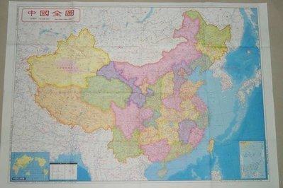 ((1中國地圖))中英文-全開 雙面印刷 -大陸地圖---中文台灣-地圖(國產精美地圖)防水