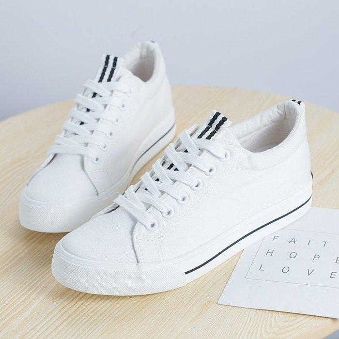小白鞋春夏新款內增高帆布鞋女韓版系帶小白鞋ulzzang學生百搭布鞋