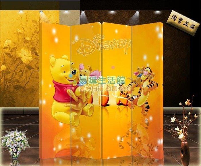 中式時尚家具屏風隔斷玄關家居時尚折屏酒店所飾維尼熊【單扇防水】