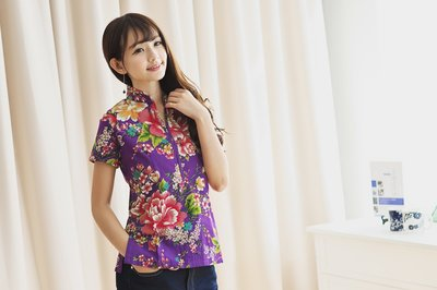 !!((臺灣藍Anewei))客家花布紫色小立領短衫~S最後一件~另有淡紅S.秋香綠