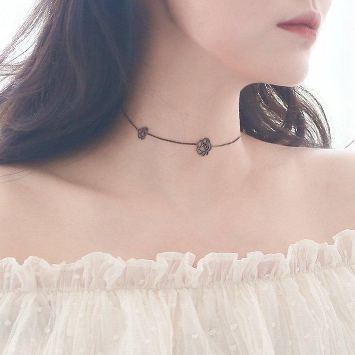 韓國Baby~眼觀S925黑色玫瑰花朵項鍊女純銀時尚氣質簡約短款頸鍊chocker