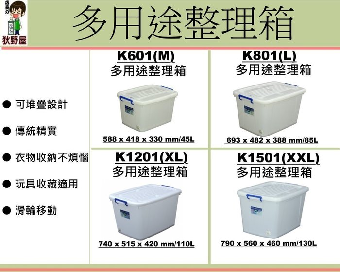 「5個入免運」K-1201/110L多用途整理箱/換季收納/滑輪整理箱/棉被置物箱/貨運收納/K1201/直購價