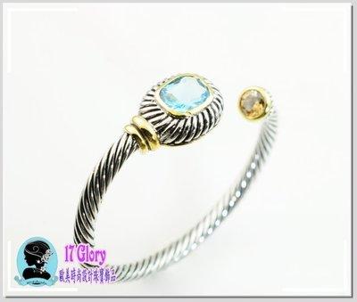 紐約時尚金屬繩索手環 歐美名品設計款 個性線條 雙色彩鑽 獨到品味時尚美感  精品 #現貨✽ 17 Glory