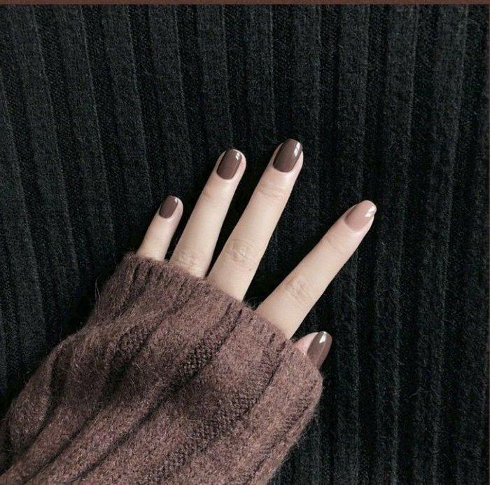 壹畫 正韓 港風 NO93巧克力色系延禧跳色顯白可穿戴拆卸 成品美甲貼片假指甲