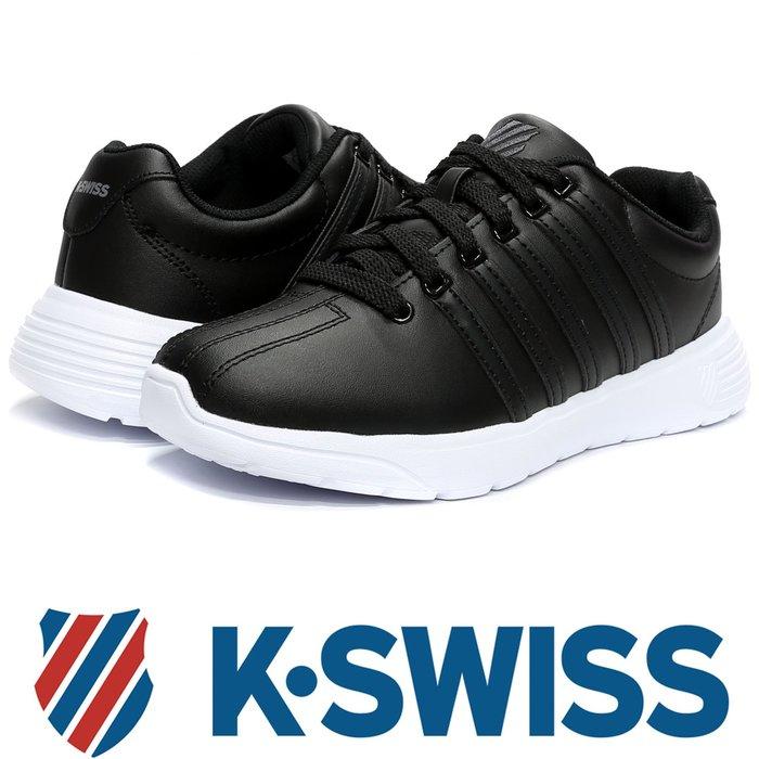 鞋大王K-SWISS 95914-093 黑×白 皮質3D輕量鞋底休閒運動鞋【免運費,加贈鞋油和襪子】727K
