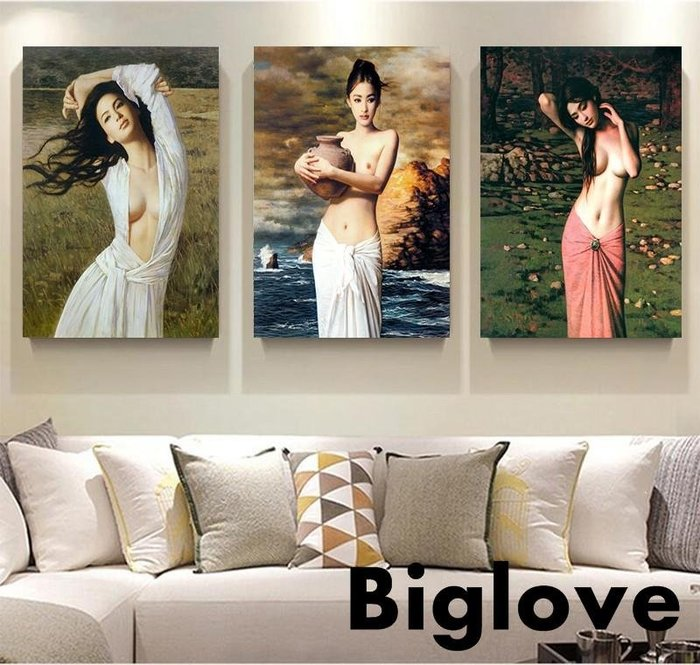 歐式性感藝術臥室床頭裝飾畫走廊過道樓梯無框掛畫會所美女墻壁畫