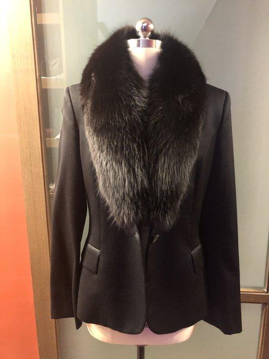 Versus黑色毛領西裝外套