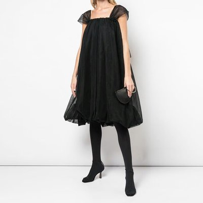 【鈷藍家】小眾獨立制造英倫甜美黑色網紗蓬松大裙擺網紗連身裙優雅復古大傘裙 zw