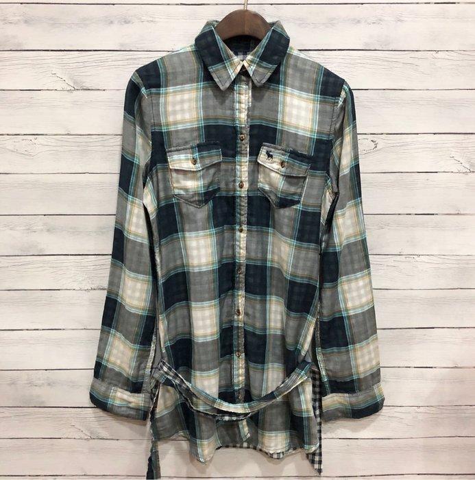 Maple麋鹿小舖 abercrombie&fitch * a&f 女童款長版格紋長袖襯衫 * ( 現貨XL號 )