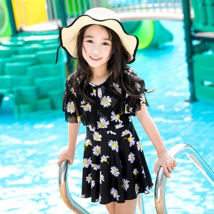 女童連身裙式中大童游泳衣秋季上新