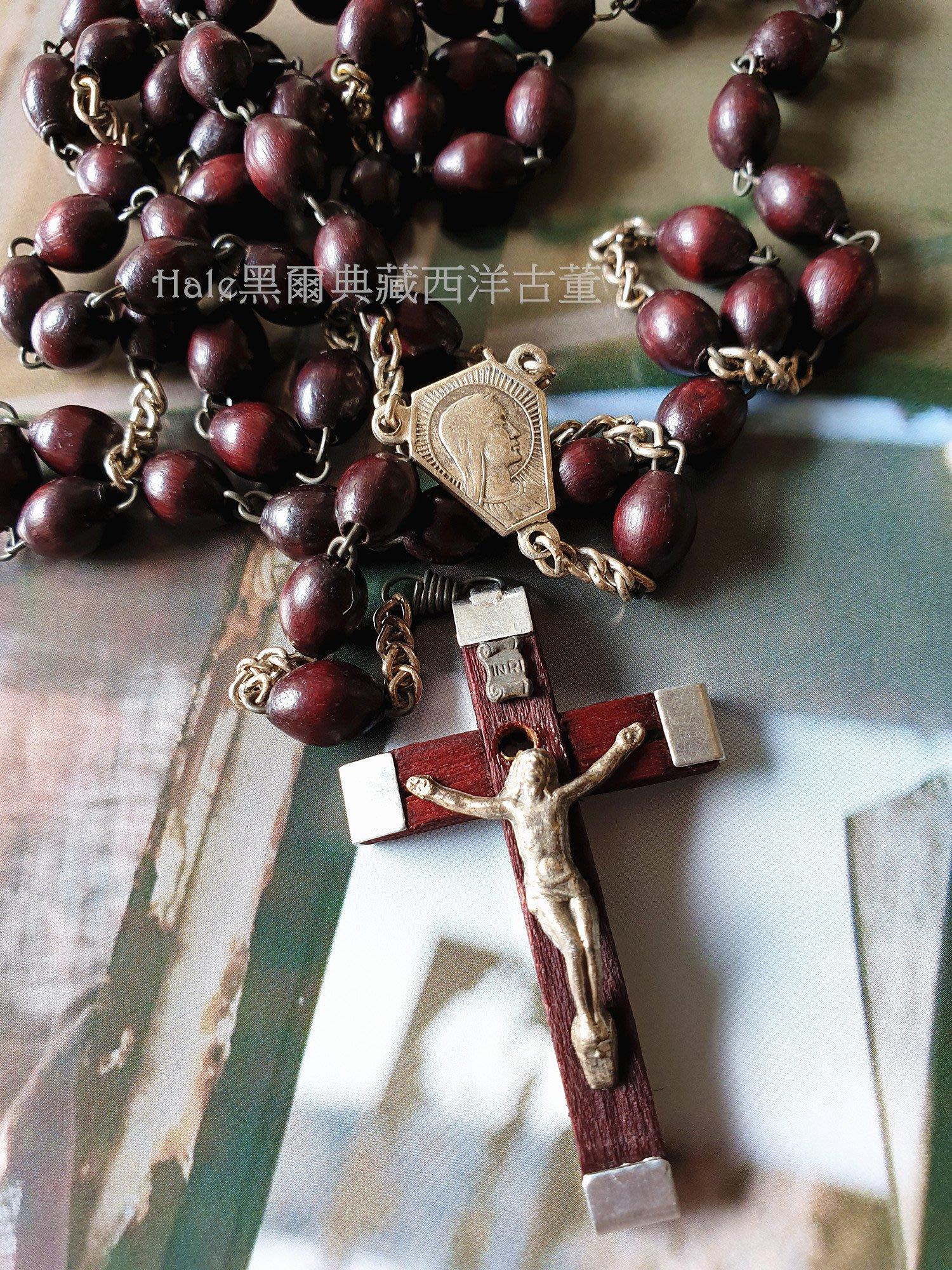 黑爾典藏西洋古董~義大利木質耶穌基督十字墜子/項鍊~Vintage傳教士天主玫瑰經宗教系列