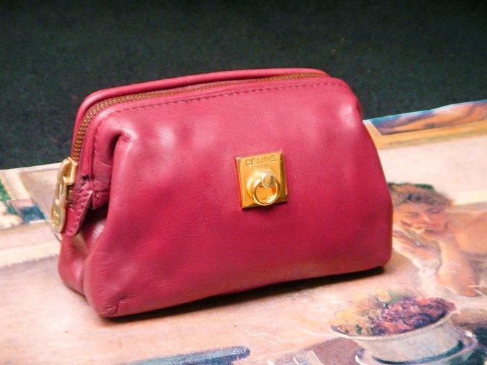 【夜間飛行】(保證100%真品) Celine 紫紅色真皮手拿包/限時特價