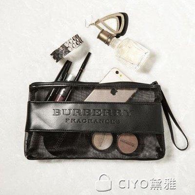 日和生活館 韓國簡約化妝包透明網紗袋歐美潮牌女士手挽包大容量洗漱收納S686
