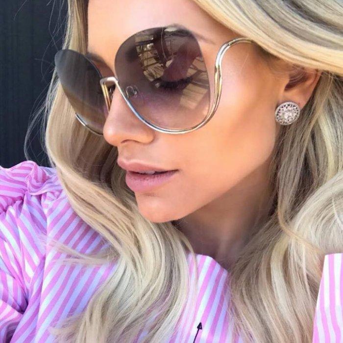 Chloe 淡金色金屬半框太陽眼鏡 女人時尚必備單品 CE125S 752 公司貨 125