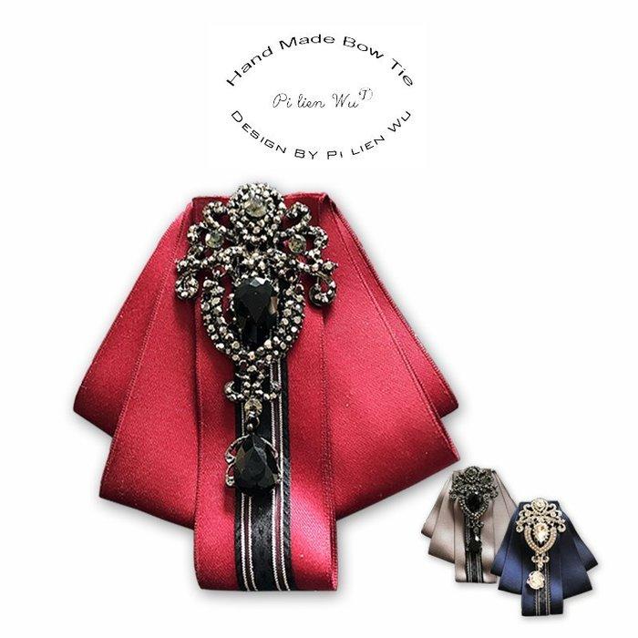 結婚領結 宮廷貴族華麗水滴鑽飾鑽石新郎領結西裝襯衣領帶結婚領花#M01活動主持領結蝴蝶結