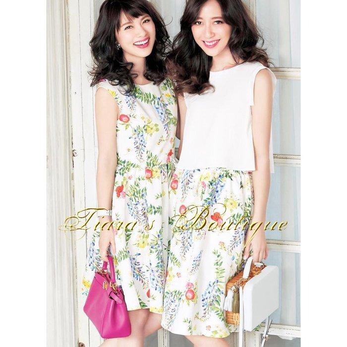 Chesty 日本貴婦-公主系品牌 紫藤花 華麗與可愛兼具的白底花柄洋裝 喜歡M'S GRACY可參考 (447)