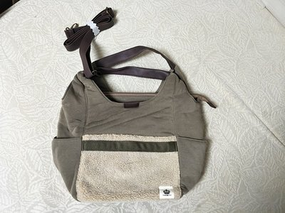 日本 Lafiel 灰色棉布冷毛面 手提 斜咩袋 ( $140 包順豐 )