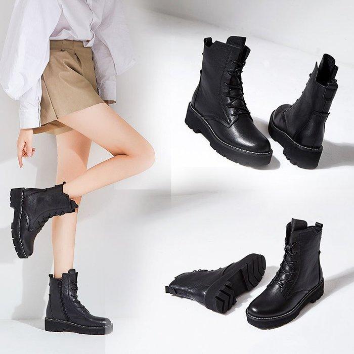 【本店推薦】馬丁靴2018秋季上新歐美風馬丁靴系帶黑色光面直筒女靴側拉鏈厚底短靴子歐美