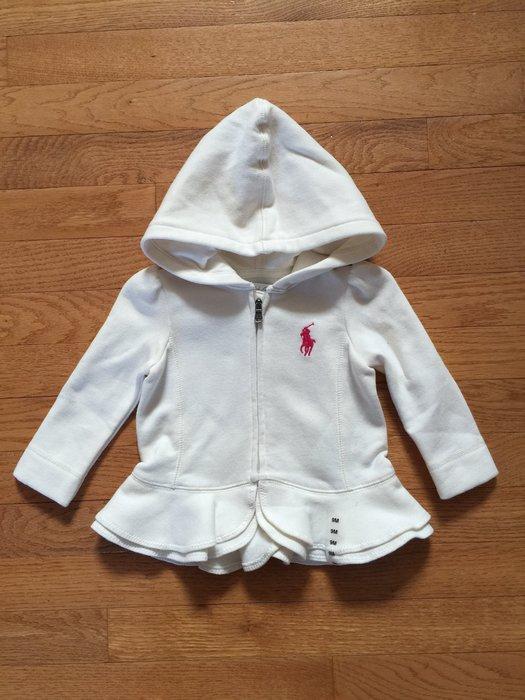 【Polo Ralph Lauren】女寶寶 大馬刺繡 LOGO 厚棉 大馬連帽外套 長袖 荷葉衣襬 白色