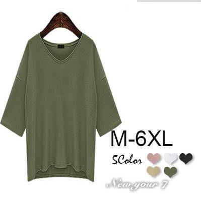 大尺碼 亞麻素色寬鬆V領薄款短袖上衣 M-6XL【紐約七號】A8-011