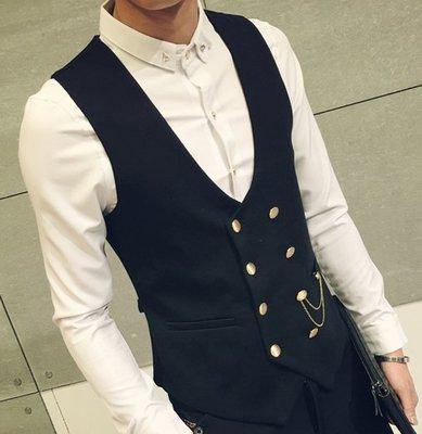 【職業裝】SV7159*有大碼 金屬雙排銅扣男士潮馬甲外套馬褂 男休閒馬甲大碼2色