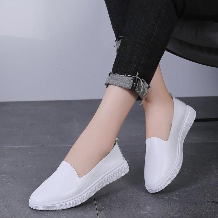 FINDSENSE品牌 四季款 新款 日本 女 高品質 真皮 簡約 鏤空一腳蹬 百搭 舒適 透氣 樂福鞋 休閒 潮流鞋子