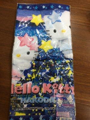 日本北海道函館 星星🌟版限定凱蒂貓 hello kitty 純棉方巾 35公分 送kitty 徽章