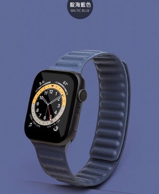 QIALINO 洽利 Apple Watch 42mm/44mm 真皮製鏈式錶帶 簡便拆裝耳扣 真皮錶帶 更換簡單