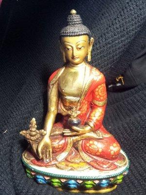 【準提坊】金銅+彩繪老佛像,藥師佛h205*w1433g